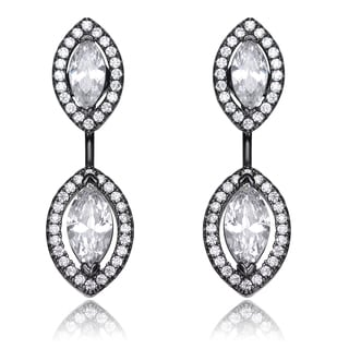Collette Z Sterling Silver Clear Cubic Zirconia Ear Jacket Earrings