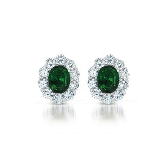 Collette Z Sterling Silver Green and Clear Cubic Zirconia Button Earrings
