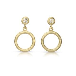 Collette Z Gold Overlay Cubic Zirconia Hula-hoop Earrings