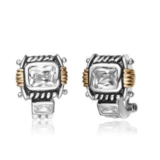 Collette Z Sterling Silver Cubic Zirconia Retro Earrings