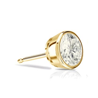 Auriya 14k Gold 1/3ct TDW Round SINGLE STUD (1) Diamond Bezel Earring