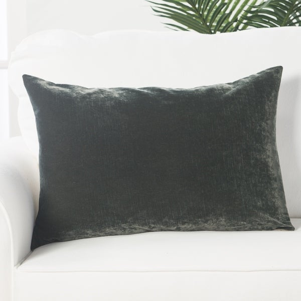 """Solid Charcoal Gray Velvety Linen and Cotton Throw Pillow (16""""x24"""")"""