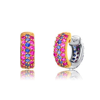 Collette Z Gold Overlay Pink and Blue Cubic Zirconia Small Hoop Earrings