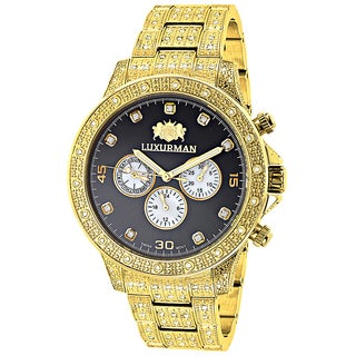Luxurman Men's Yellow Goldplated 1 1/4ct TDW Diamond 2714 Liberty Iced Out Watch