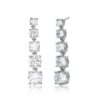 Collette Z Sterling Silver Clear Cubic Zirconia Square Pyramid Earrings - White