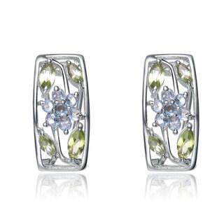 Collette Z Sterling Silver Multicolor Cubic Zirconia Growing Flower Earrings