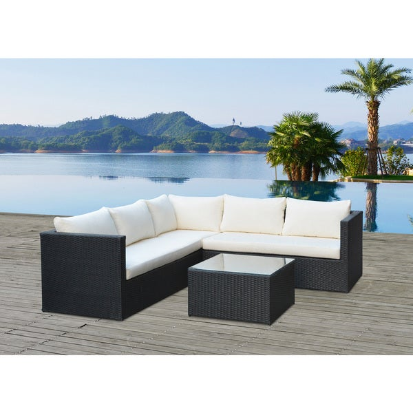 Lugo Black Wicker Sectional Set  sc 1 st  Overstock.com : wicker sectional - Sectionals, Sofas & Couches