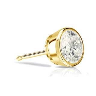 Auriya 14k Gold 1/2ct TDW Bezel Push-back Round Cut Diamond Single Stud Earring (J-K, I2-I3)