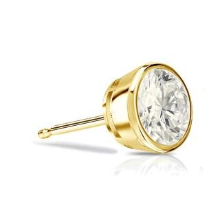 Auriya 14k Gold 1/2ct TDW Bezel-Set Round SINGLE STUD (1) Diamond Earring