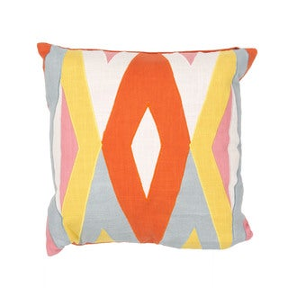 Tribal Pattern Red/Yellow Cotton 18-inch Throw Pillow