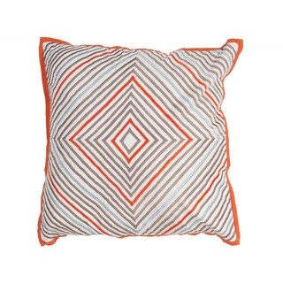 Geometric Orange/Blue Cotton and 18-inch Linen Throw Pillow