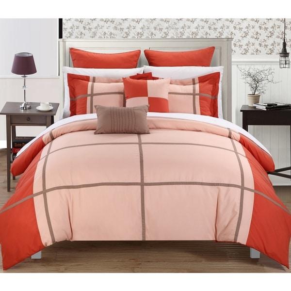 Chic Home Regent Red Orange 11-Piece Bed in a Bag Comforter Set