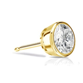 Auriya 14k Gold 3/4ct TDW Bezel Push-back Round Cut Diamond Single Stud Earring (I-J, SI2-SI3)