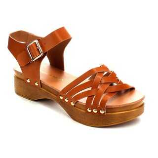 CHASE & CHLOE CC65 Women's Stud Platform Cut-out Low Wedge Heel Criss Cross Strap Sandal