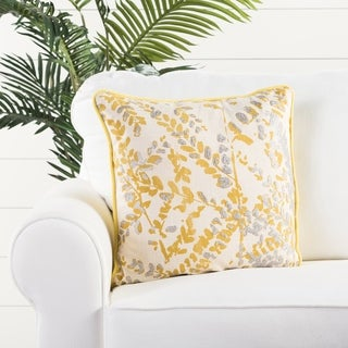 Floral Pattern Yellow/Gray Cotton 18-inch Throw Pillow