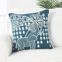 Tribal Elephant Blue/Ivory Linen 18-inch Throw Pillow