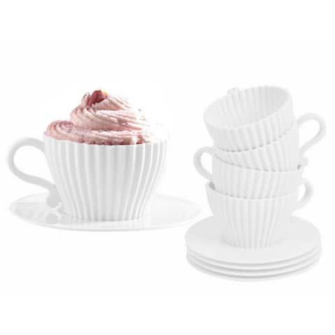 Cupcake Tea Set Silicone Cupcake Pans with Saucers (Set of 4)