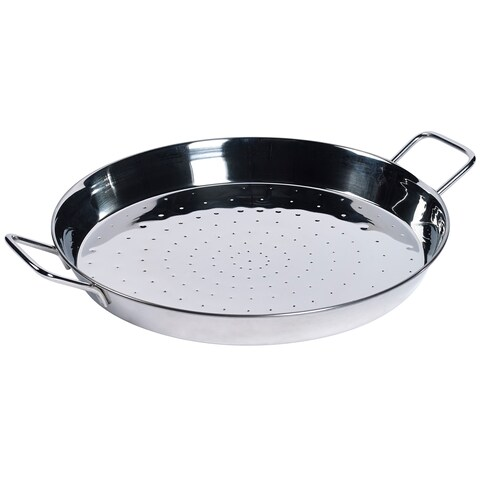 "16"" Stainless Steel Paella Pan with 2 Sides Handles"
