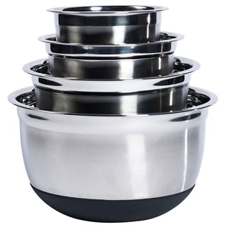 4Pc Stainless Steel Mixing Bowl Set with Silicone Base