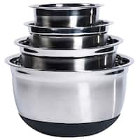 Stainless Steel/Silicone Base Mixing Bowl Set (Set of 4)
