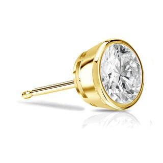 Auriya 14k Gold 1ct TDW Bezel-Set Round SINGLE STUD (1) Diamond Earring