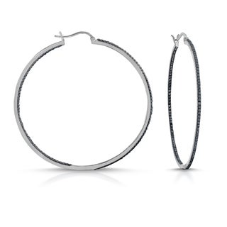 Collette Z Black Plated Diamond Brass Hoop Earrings with Stone Accents