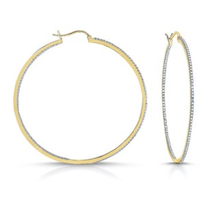 Collette Z Gold Plated Diamond Brass Hoop Earrings with Stone Accents