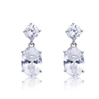 Collette Z Sterling Silver Cubic Zirconia Dangle Earrings With Tiered Look