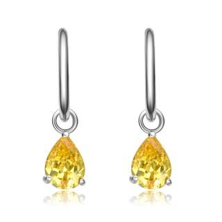 Collette Z Sterling Silver Yellow Cubic Zirconia Pear Drop Earrings