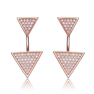 Collette Z Rose Gold Overlay Cubic Zirconia Upside Down Triangle Earrings