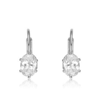 Collette Z Sterling Silver Clear Oval Cubic Zirconia Leverback Earrings