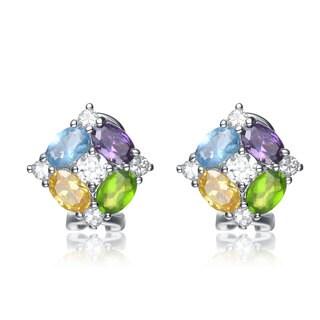 Collette Z Sterling Silver Multicolor Cubic Zirconia Cluster Earrings