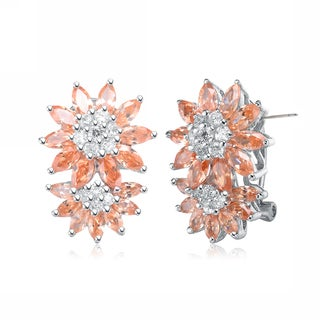 Collette Z Sterling Silver Clear and Orange Cubic Zirconia Flower Burst Earrings