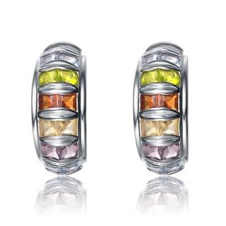 Collette Z Sterling Silver Multicolor Cubic Zirconia Wheel Earrings