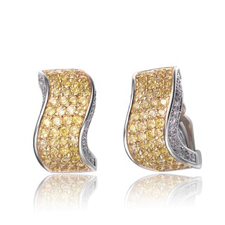 Collette Z Sterling Silver Yellow and Clear Cubic Zirconia Wave Earrings