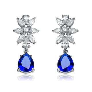 Collette Z Sterling Silver Blue and Clear Cubic Zirconia Flower Dangle Earrings
