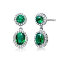 Collette Z Sterling Silver Green Cubic Zirconia Stately Drop Earrings