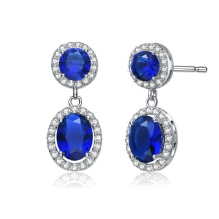 Collette Z Sterling Silve Blue Cubic Zirconia Stately Drop Earrings