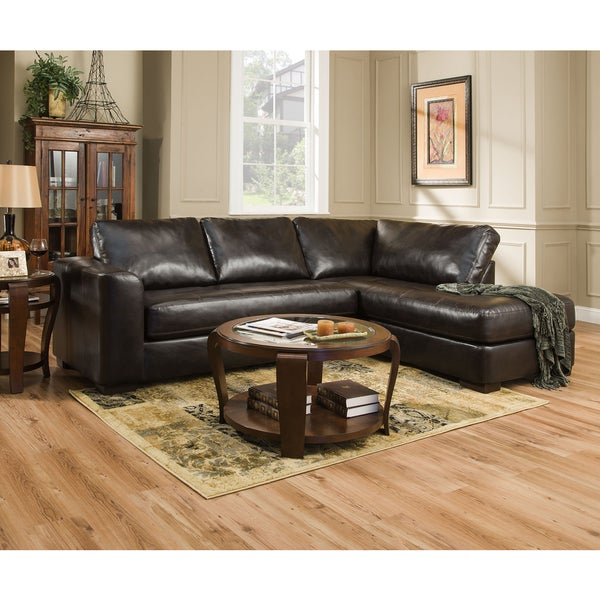 Shop Simmons Upholstery Lucky Espresso Sectional Free Shipping