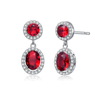 Collette Z Sterling Silver Red Cubic Zirconia Stately Drop Earrings