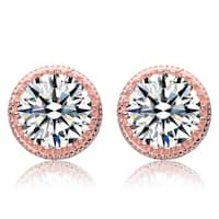 Collette Z Sterling Silver Cubic Zirconia Gleaming Solitaire Earrings - White