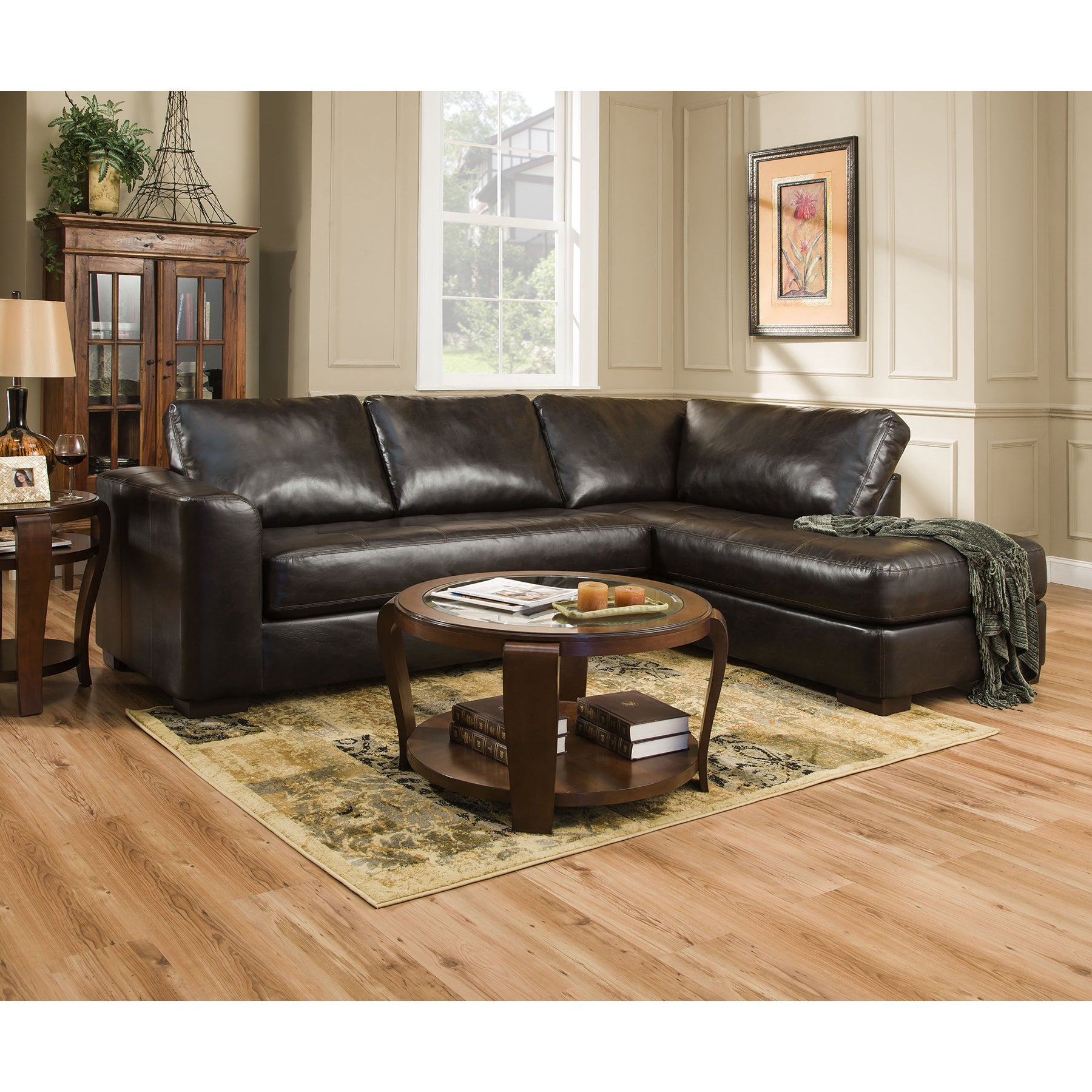Simmons Upholstery Lucky Espresso Sectional and Matching ...
