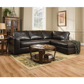 Simmons Upholstery Lucky Espresso Sectional and Matching Ottoman