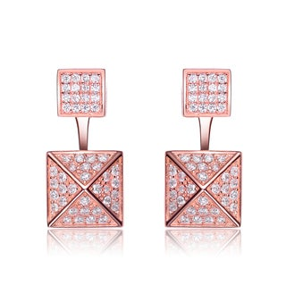 Collette Z Sterling Silver Cubic Zirconia Multiple Square Jacket Earrings