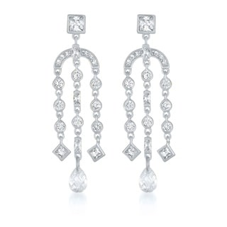 Collette Z Sterling Silver Cubic Zirconia Chandelier Earrings