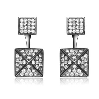 Collette Z Sterling Silver Cubic Zirconia Multiple Square Jacket Earrings - White