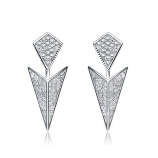 Collette Z Sterling Silver Cubic Zirconia Rock N' Roll Jacket Earrings - White