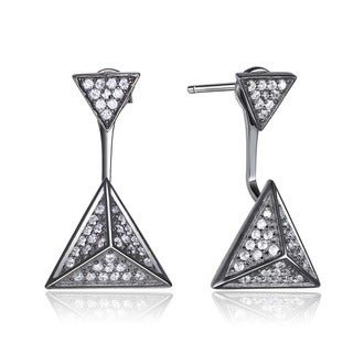 Collette Z Sterling Silver Cubic Zirconia Multiple Triangle Jacket Earrings