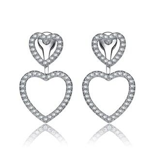Collette Z Sterling Silver Cubic Zirconia Open Heart Jacket Earrings