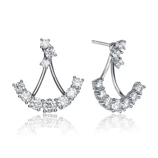 Collette Z Sterling Silver Cubic Zirconia Anchor Jacket Earrings